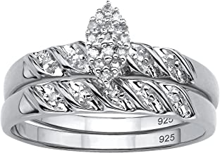 Platinum over Sterling Silver Genuine Diamond Bridal Ring Set (1/10 cttw, I Color, I3 Clarity)
