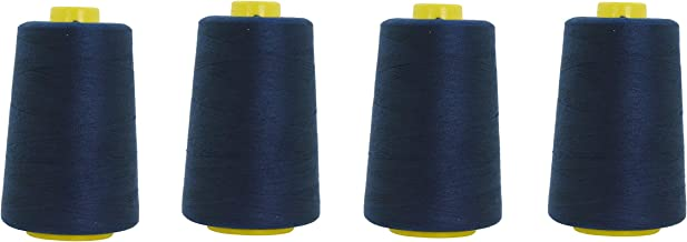 Mandala Crafts All Purpose Sewing Thread from Polyester for Serger, Overlock, Quilting, Sewing Machine (4 Cones 6000 Yards Each, Navy Blue)
