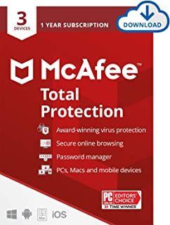 McAfee Total Protection 2021, 3 Device Antivirus Internet Security Software, Password Manager, Privacy, 1 Year Subscriptio...