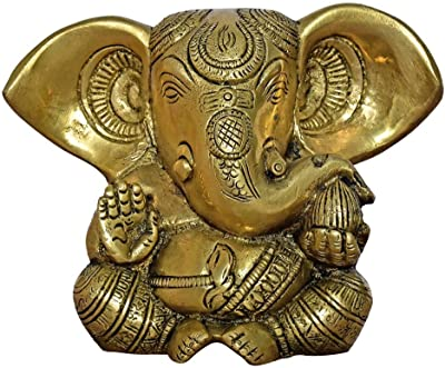 999Store Brass Idols Ganesha Religious Idol Figurine Hindu God Sculpture Home Décor Mandir Temple Gift Indian Art( Brass_4.8x6.5x2 Inches_1.610 Kg) Brass051