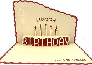 Tarjeta de cumpleaños 3D, diseño de caja de regalo, tarjetas de felicitación de cumpleaños con vela especial regalo de cum...