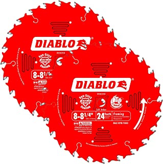 Freud D0824X Diablo 8-1/4-inch 24 Tooth ATB Thin Kerf Framing Saw Blades, 2-Pack