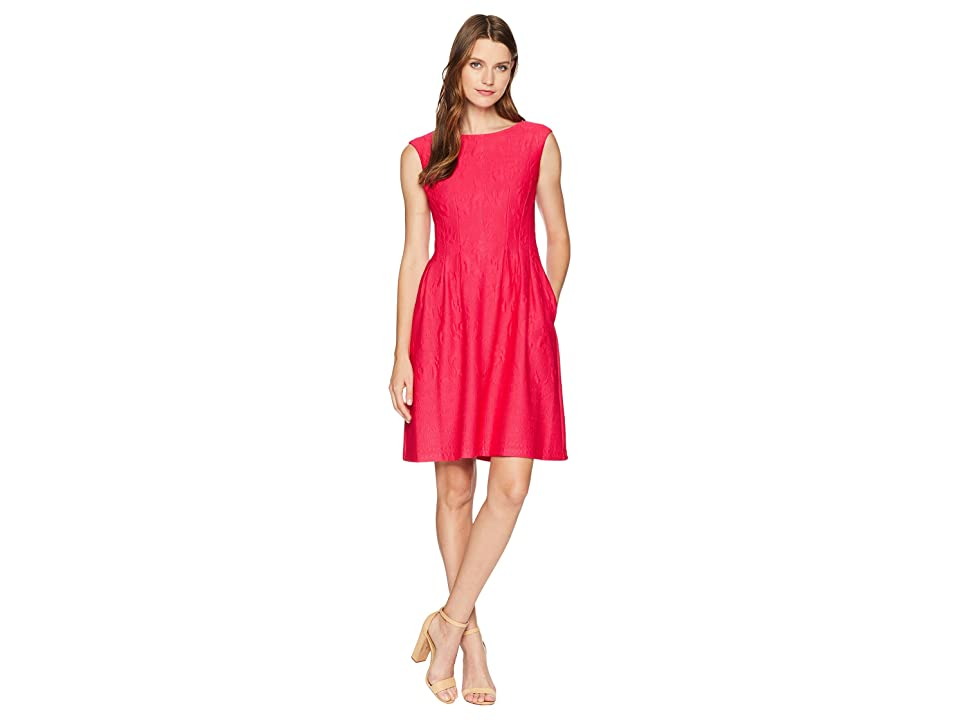 Taylor Textured Pintuck Fit and Flare Dress (Fuchsia Pink) Women