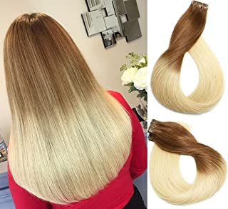 24 Inch, T6/613: Vario Tape In Human Hair Extensions 7A Ombre Hair Color Medium Light Brown #6 Fading To Bleach Blonde #61...
