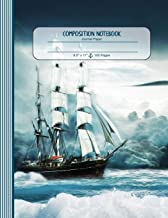 Composition Notebook: Large Journal - Ruled Lined Paper, Writing And Journaling Book - Seascape With Sailboat