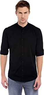 Dennis Lingo Men's Solid Chinese Collar Black Slim Fit Casual Shirt