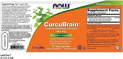 NOW Supplements, CurcuBrain 400 mg with Longvida Optimized Curcumin, 50 Veg Capsules