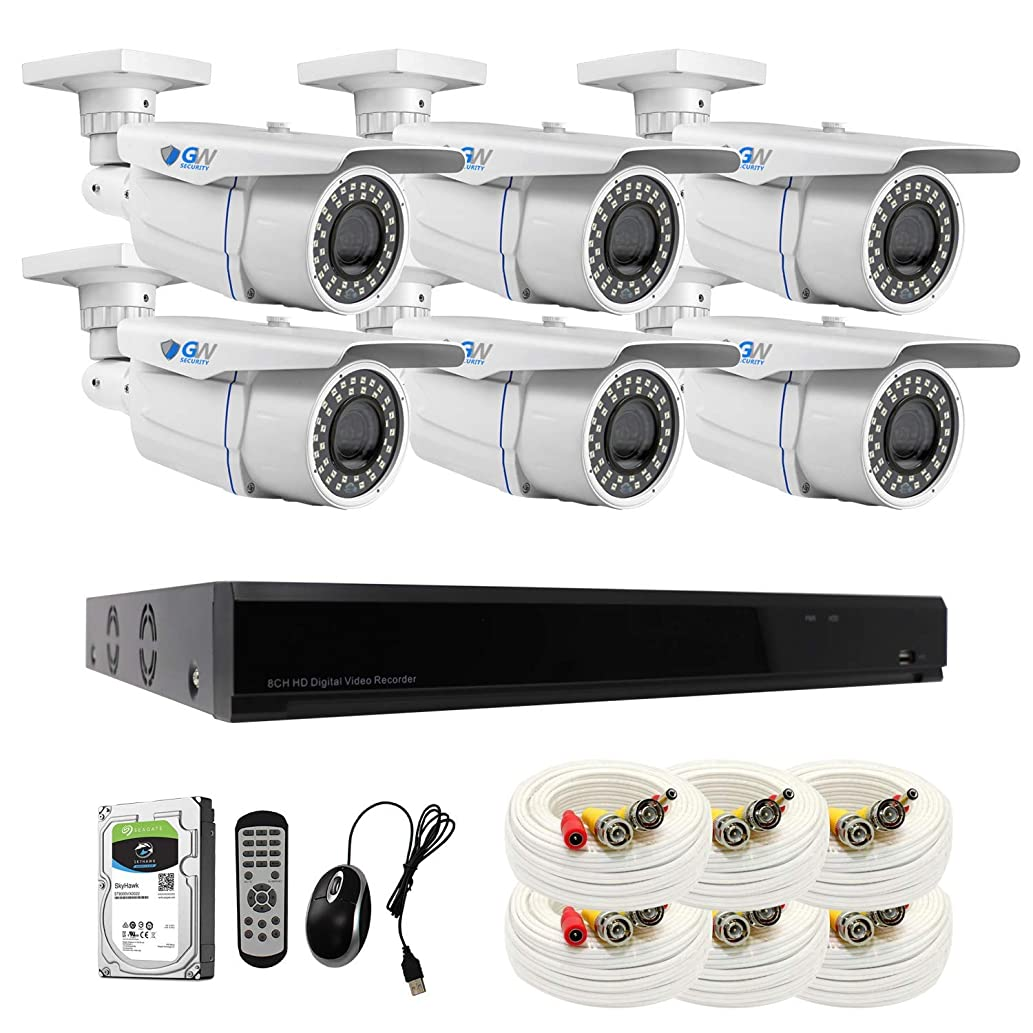 【2019 New】 GW 8CH 4K DVR H.265 8MP Complete Security System with (6) x 4K 2160P Waterproof 2.8-12mm Varifocal Zoom Bullet CCTV Security Cameras, 196ft IR Night Vision, 2TB Hard Drive