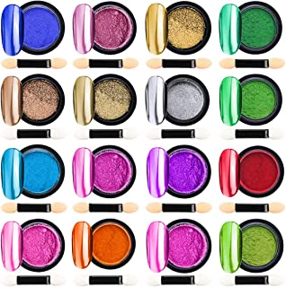 16 Jars Chrome Nail Powder Metallic Nail Art Powder,  Mirror Effect Manicure Pigment Laser Synthetic Resin Powder 16Colors Nail Powders Manicure Art Decoration with Eyeshadow Sticks – Never Peel off