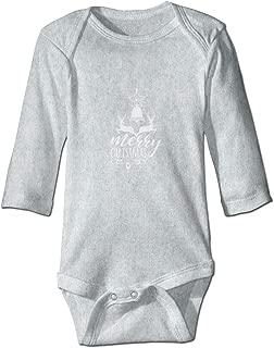 Infant Long-Sleeve Bodysuit Merry Christmas 2 Deer Stars Bells Baby Boys Girls