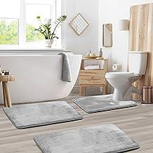 Memory Foam Bathrug Set - Silver Bath Mat and Shower Rug Large 20 x 32 Small 17 x 24 Contour 24 x 19 Non Slip Latex Free P...