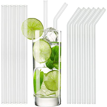 8er-Set Glas-Strohhalme wiederverwendbare Trinkhalme aus Glas in Dunkelgrün