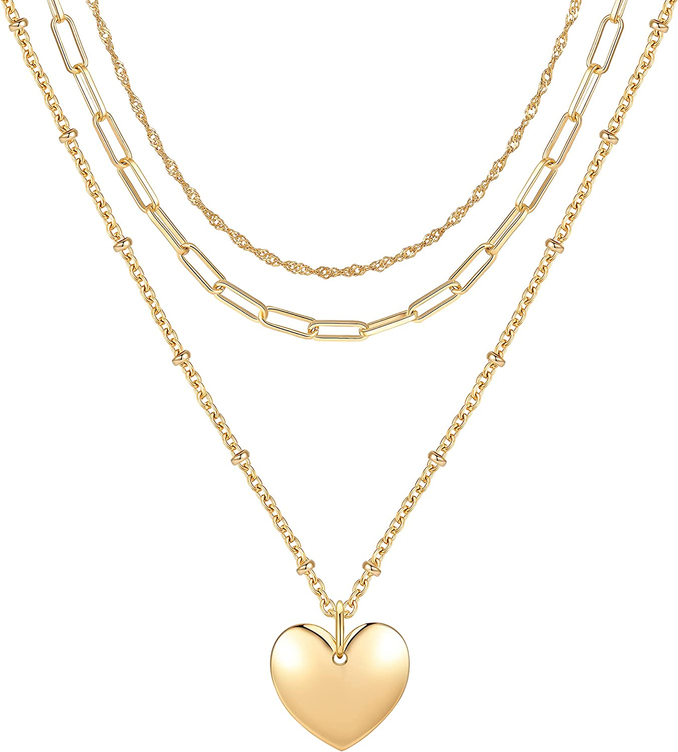 Initial Heart Pendant 3 Layered Chain Necklaces for Women 14K Gold Plated Choker Handmade Dainty Long Necklace Unique Design Gift for Mom