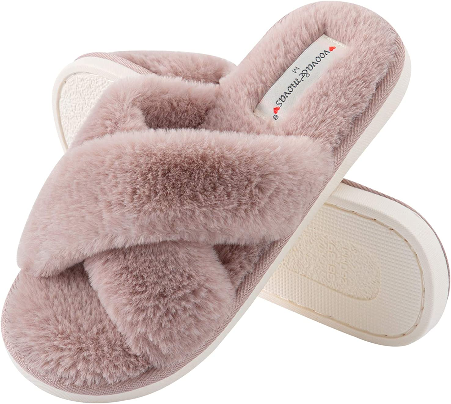 Slippers for Women, Fuzzy Slides for Girls, US Size 6-10, Pink Comfortable Soft Furry Faur Fur Fleece Open Toe Non Slip Waterproof Durable Rubber Sole, Flurry Sandals Used Indoor Outdoor