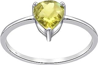 خاتم من الفضة الاسترلينية عيار 0.65 قيراط قلب أصفر ليموني كوارتز سوليتير 925 للنساء من أوركيد جيويلري