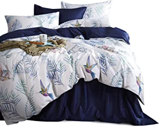 Wake In Cloud - Hummingbirds Duvet Cover Set, Cotton Sateen Bedding, Watercolor Birds and Palm Tree Leaves Pattern Printed on White, Navy Blue on Reverse (3pcs, Queen Size)