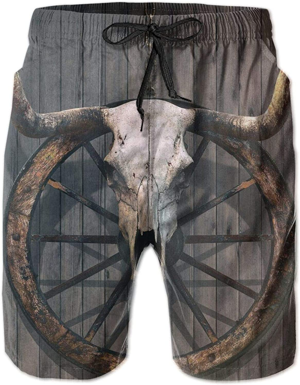 Long Horned Bull Skull and Old West Wagon Wheel On Rustic Wall Mens Swim Trucks Shorts with Mesh Lining,M
