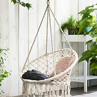 KingSo Hammock Chair Macrame Swing, Handmade Knitted Hanging Cotton Rope Chair for Indoor/Outdoor Home Patio Deck Yard Garden Reading Leisure, 325 Pounds Capacity (Beige)