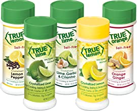 True Citrus Lemon Pepper, Lime Garlic & Cilantro, Orange Ginger, Bonus Includes Lemon & Lime Shaker, No Sodium, Gluten Free, Seasoning Salt Spice Shaker Kit.