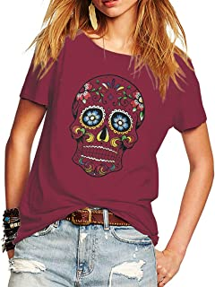 Woman T Shirt Floral Skull Contrast Color Junior Tops Tee Punk Street Style Lady Shirt