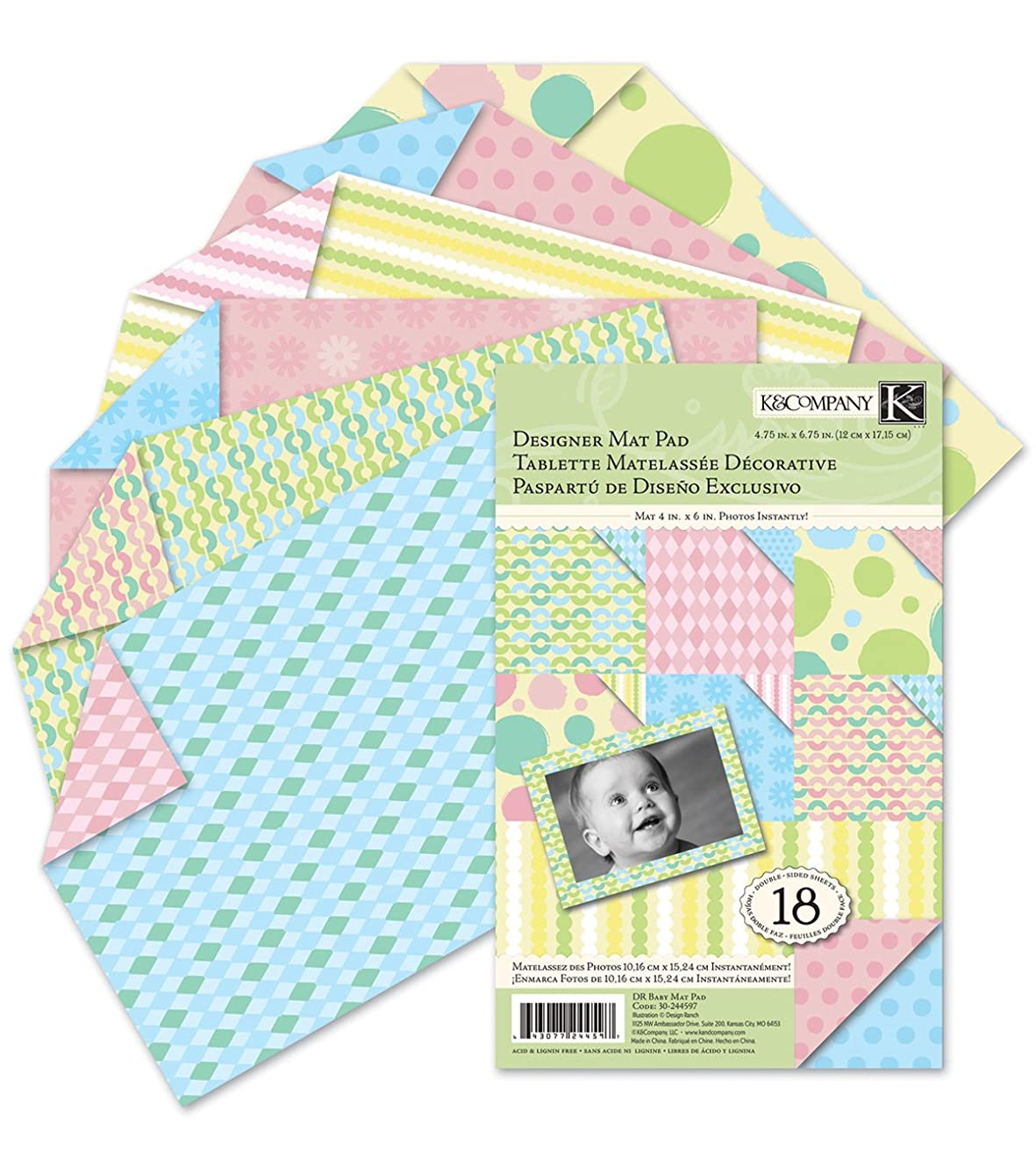 K&Company Design Ranch Baby Double-Sided Designer Mat Pad 4-3/4-Inch by 6-3/4-Inch, 18 Sheets