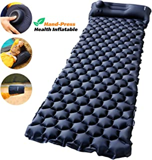 Camping Sleeping Pad with Built-in Pump – AirExpect Upgraded Inflatable Camping Mat with Pillow for Backpacking, Traveling, Hiking, Durable Waterproof Air Mattress Compact Ultralight Hiking Pad
