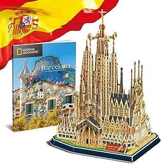 CubicFun National Geographic Puzzle 3D España Barcelona Sagrada Familia Kit de Gaudí Rompecabezas 3D Modelo Arquitectónico con Folleto de Regalo para Adults y Niños, 184 Piezas