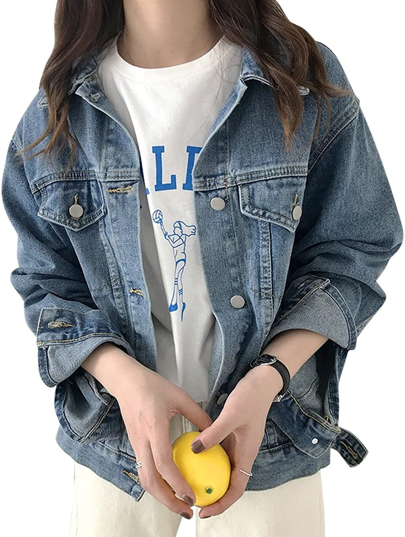 JudyBridal Womens Denim Jacket Boyfriend Jean Jacket Fashion Button Outerwear