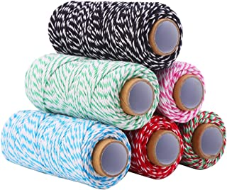 DECORA 328 Yard Bakers Twine Cord Cotton String Rope for Gift Wrapping, Arts Crafts Pack of 6