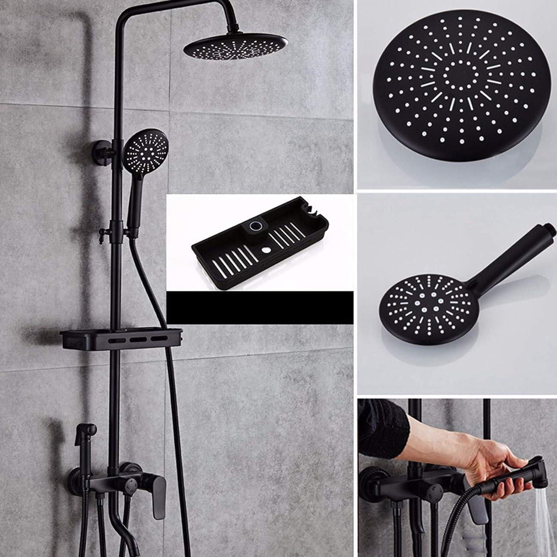 Shower set Shower Shower Black Shower Shower Set Full Brass Brass Brass Bathroom Bathroom Home Matte Shower Booster,F cb91af