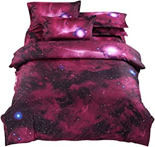 uxcell 4-Piece Galaxies Duvet Cover Sets - 3D Printed Space Themed - 100% Polyester - All-Season Reversible Design - Inclu...