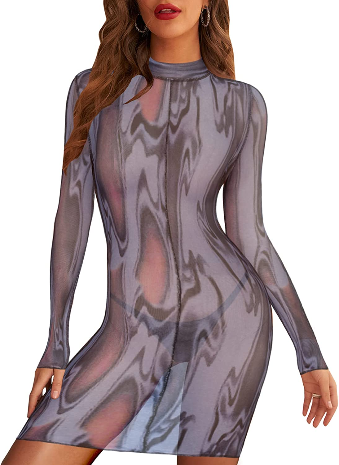 Deer Lady Womens Sexy Mesh See Through Dress Long Sleeve Bodycon Party Club Dress