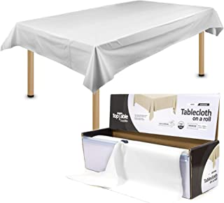 TopTable Supplies Plastic Table Cloth Roll White   Heavy Duty WHITE Premium THICKER Disposable   54inch x 108ft for up to ...