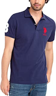 Mens Classic Big Logo Solid Pique Polo Shirt with #3 Patch