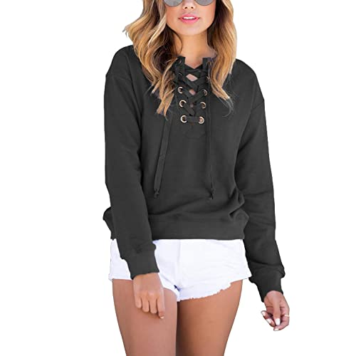 OURS Women s Casual Lace up V Neck Pullover Sweatshirt Long Sleeve T Shirt  Blouse Tops 762f207be