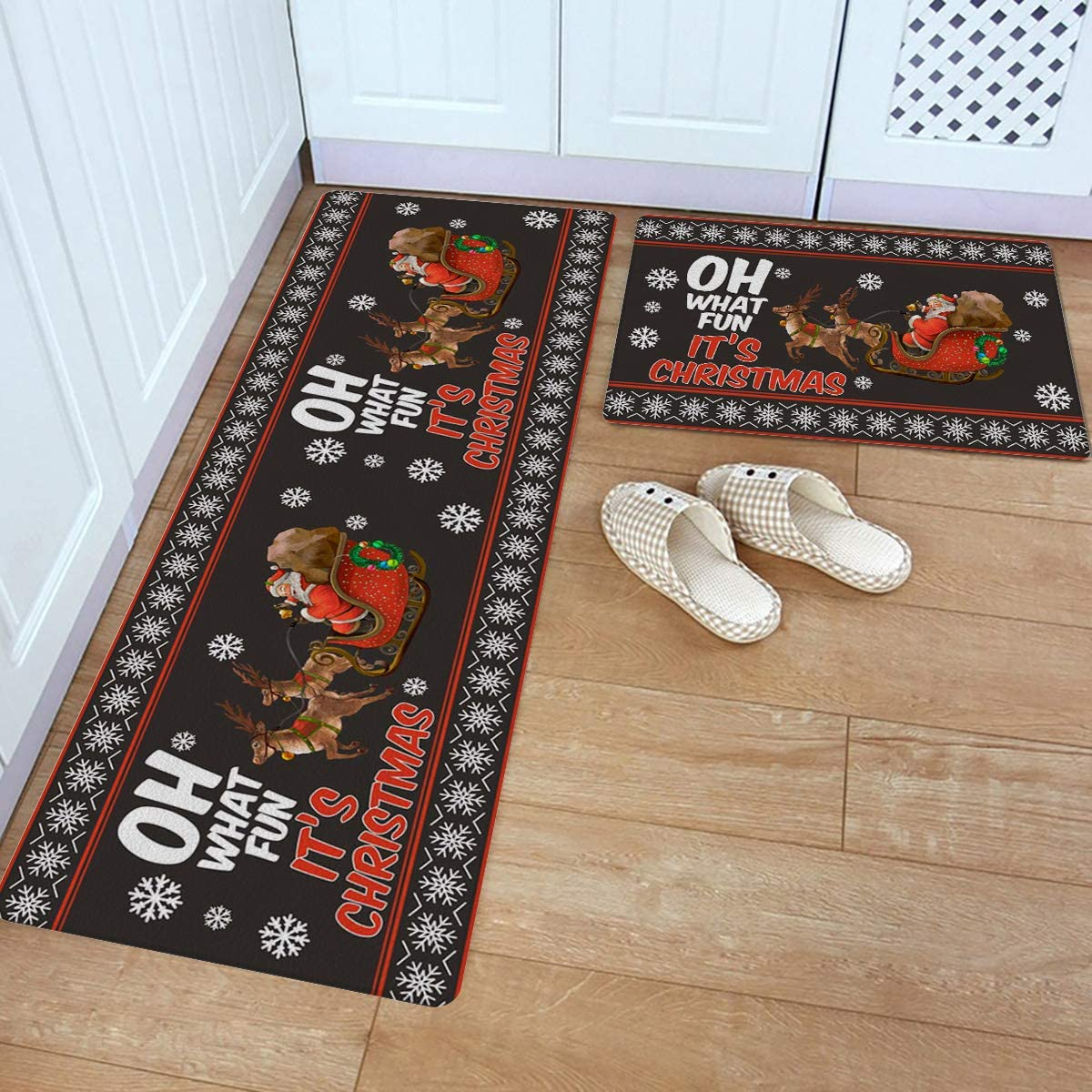Max 79% OFF Ranking TOP13 2 Piece Kitchen Rugs Set Santa Standing Mats Leather Christmas
