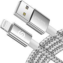 Syncwire Câble iPhone Chargeur 2M - Nouvelle Version 2020 [Certifié Apple Mfi  Durable Nylon Tressé  Charge Rapide] Cordon pour iPhone 12 Pro Max/11/XS/XR/8 Plus/7/6s/SE 2/iPad Air/Mini - Argent