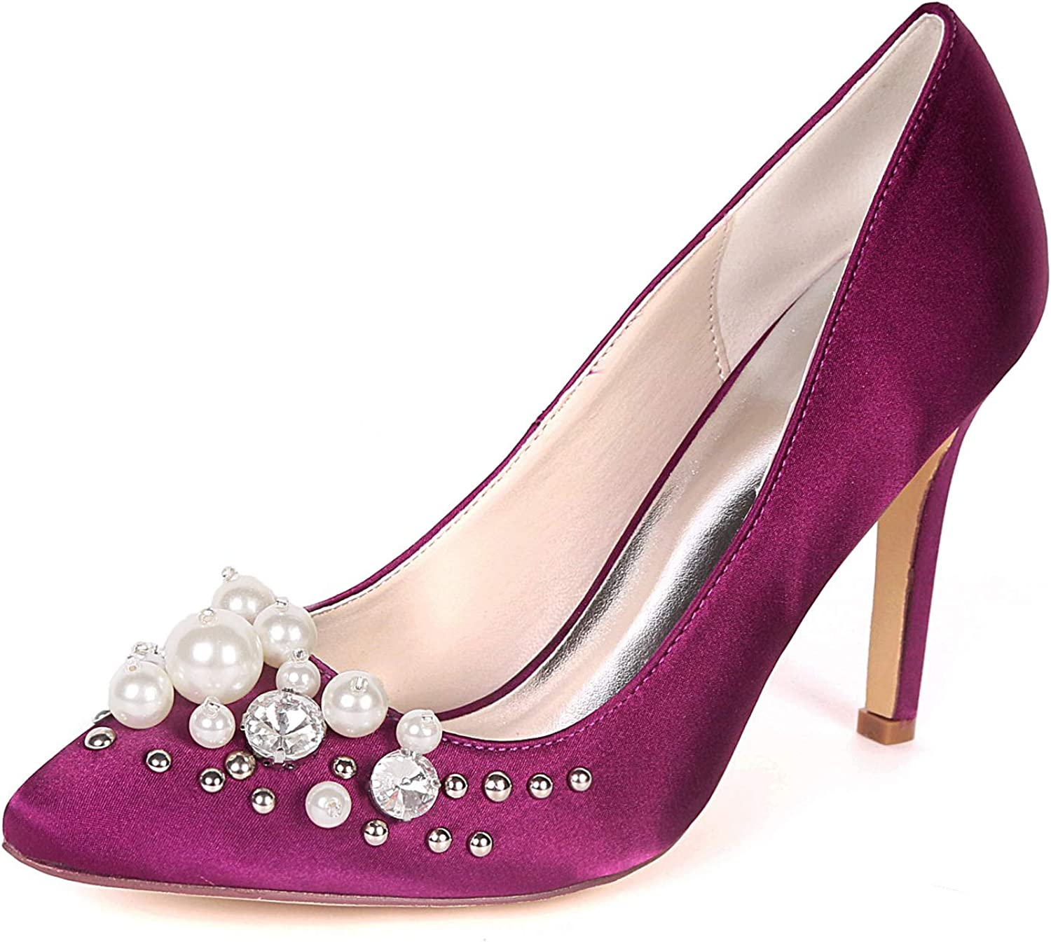 LLBubble Women Stiletto Heels Satin Dress shoes Pointed Toe Slip On Crystals Bridal Pumps 0608-01F