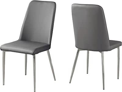 1669ee762f72 Monarch Specialties I 1035 2 Piece Dining CHAIR-2PCS Leather-Look Chrome