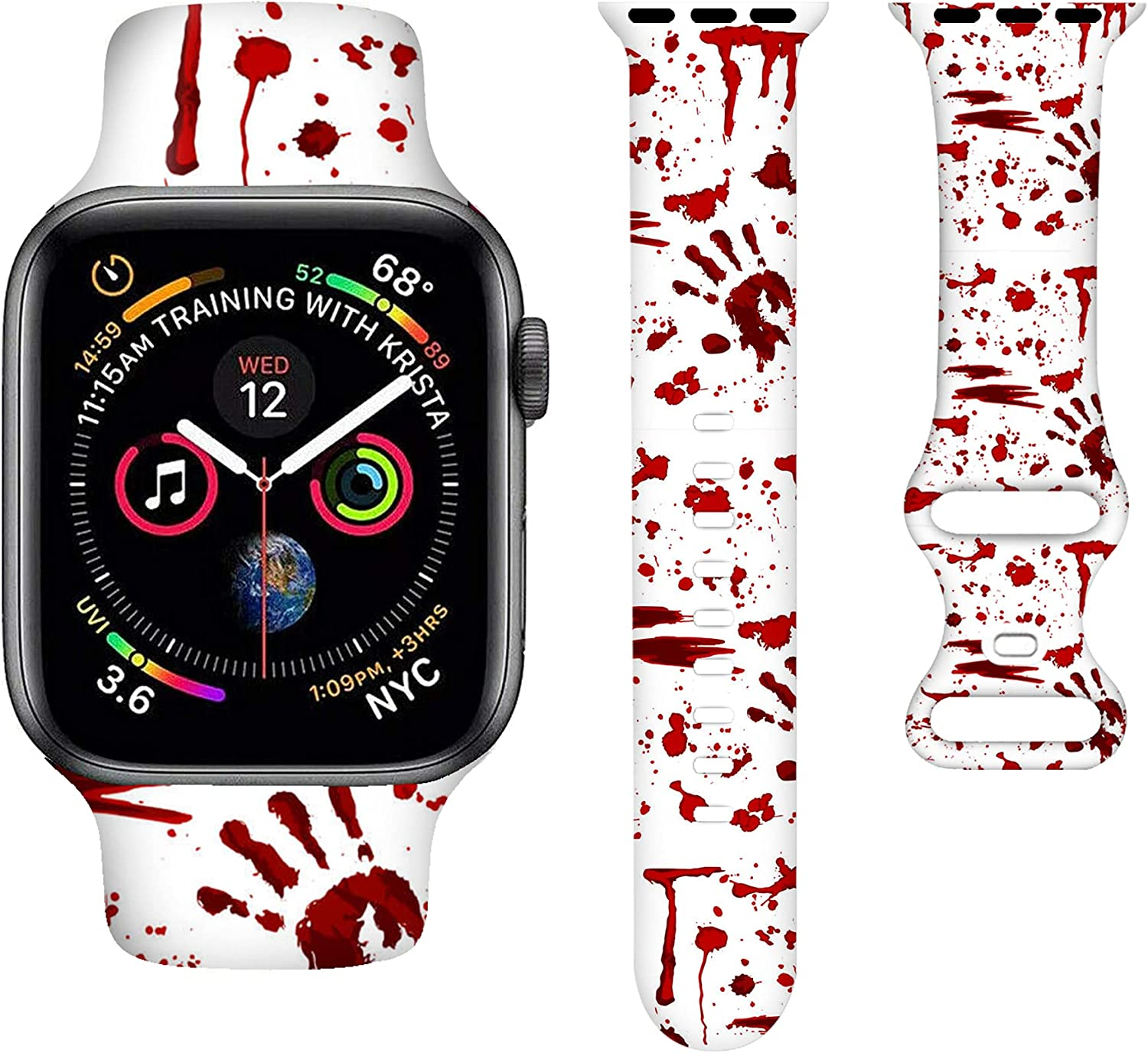 Halloween Watch Bands Cartoons Smart Watch Band Compatible iWatch Soft Silicone Replacement Wristband Bands Universal All Black White 38mm /40mm for Women Men