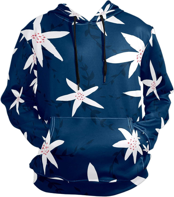 Men's Sport Hoodie White Chrysanthemum Blue Pattern Big and Tall Hoodies for Men Women Oversized Hooded Sweatshirt Hip Hop Pullover Hoodie Midweight Hood for Boys Girls