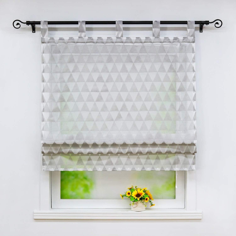 Yujiao Mao Sheer Roman Curtains for Window,Tab Top Burnout Ballo