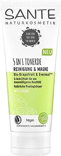 SANTE Naturkosmetik 5in1 Tonerde Reinigung & Maske Bio-Grapefruit & Evermat, 5-fach Effekt, Pelelin, Verfeinert die Poren, Reinigt gründlich, Mattiert die Haut, Spendet Feuchtigkeit, Vegan, 100ml