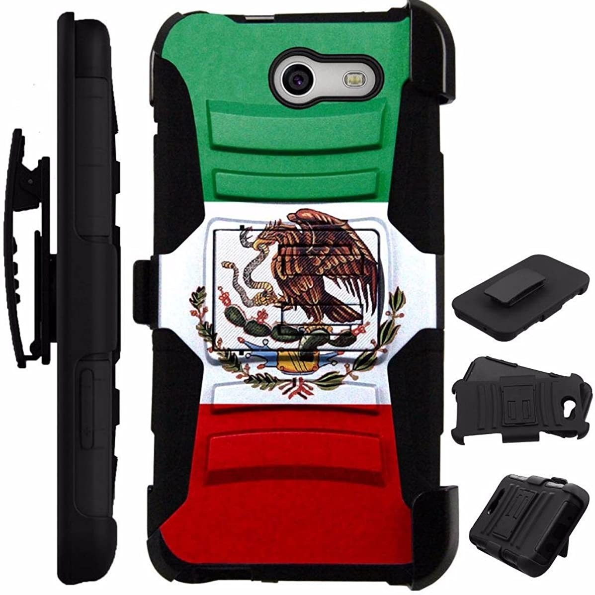 For Samsung Galaxy J7 Case (2017) / J7 Sky Pro Case / J727 Armor Hybrid Case Silicone Cover Kick Stand LuxGuard Holster + Tempered Glass Screen Protector (Flag of Mexican Eagle)