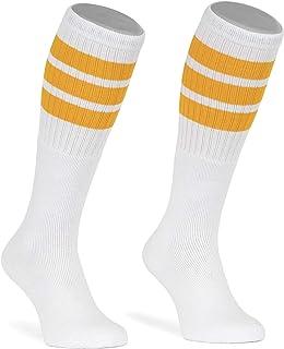 skatersocks, Calcetines de skate de 22 pulgadas, color blanco y amarillo, a rayas, para hombre y mujer