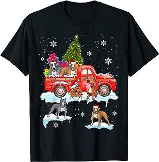 Christmas Dog On Red Car Pit Bull Truck Christmas Tree T-Shirt