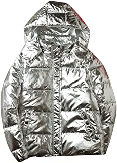 chenshiba-AU Men's Metallic Thick with Hood Quilted Glitter Fashion Down Jacket Coat