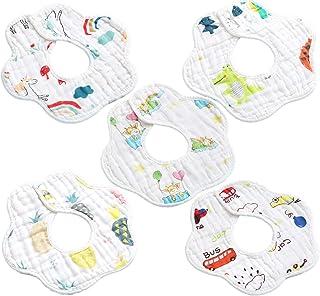 Kueh 5 Pack Baby Bib Saliva Towel, 6 Layer Can 360 degrees Rotate Petal Absorption back Bandana Bibs for Drooling