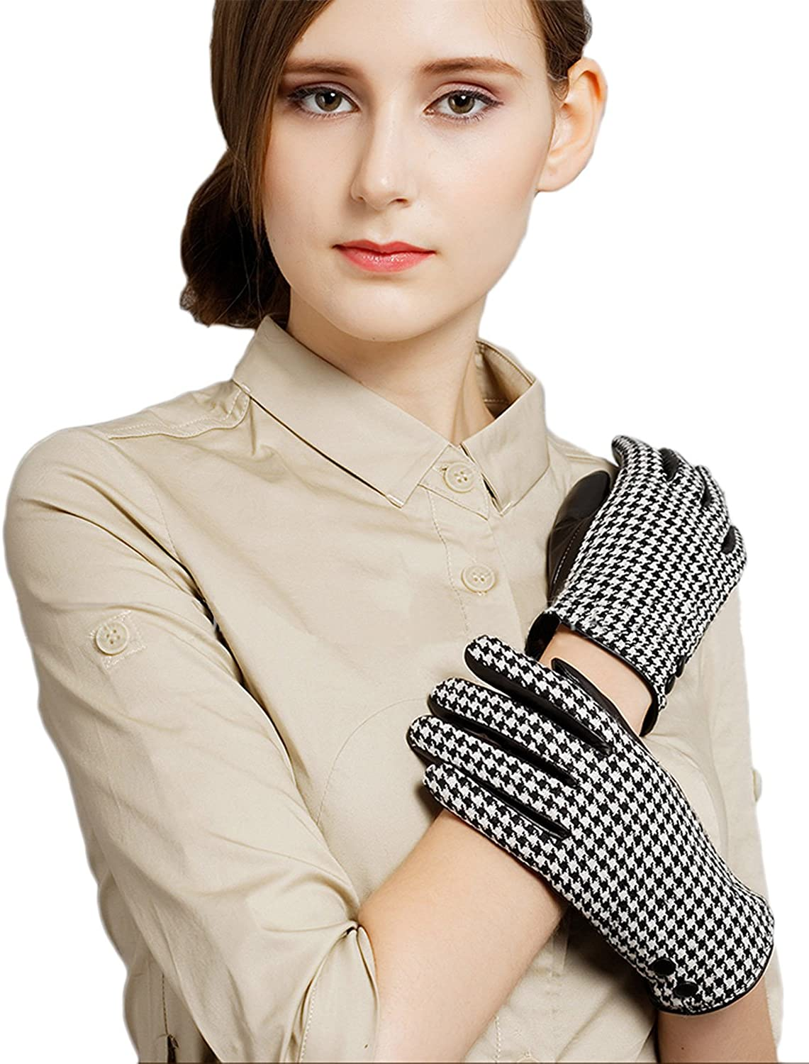 Only Faith Women Winter Warm Houndstooth Dermic Wool Leather Gloves
