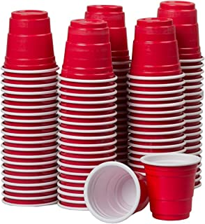 2oz Mini Red Solo Cups – 100 Count – Disposable Tiny Shot Glasses & Party Shooters – Great for Alcohol Tasting, Tailgates, Jager Bombs, Roulette, Wine, Beer, Liquor – Party Supplies